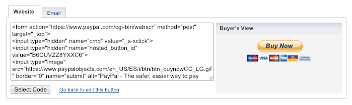 paypal button code