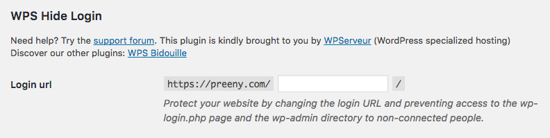 Hide the default wordpress login url